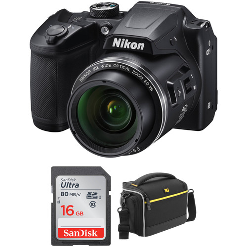 Nikon COOLPIX B500 Digital Camera Basic Kit (Black, Refurbished)