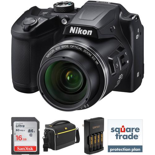 Nikon COOLPIX B500 Digital Camera Deluxe Kit (Black, Refurbished)