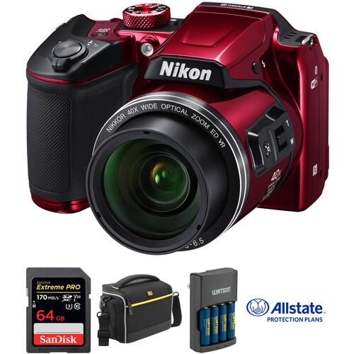 Nikon COOLPIX B500 Digital Camera Deluxe Kit (Red)