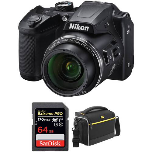 Nikon COOLPIX B500 Digital Camera with Free Accessory Kit (Black)