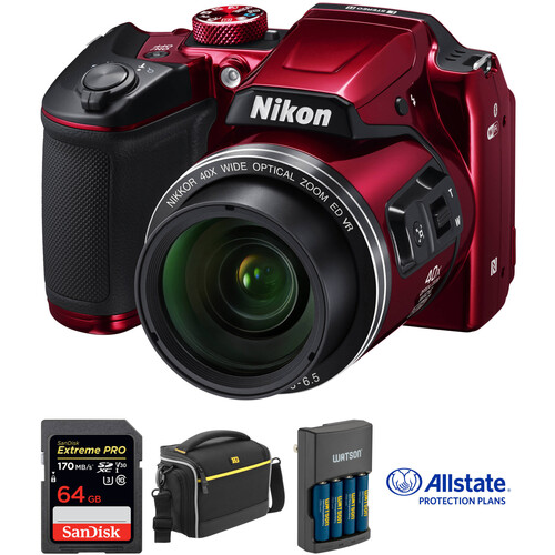 Nikon COOLPIX B500 Digital Camera Deluxe Kit (Red)