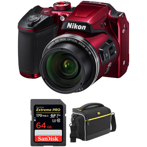Nikon COOLPIX B500 Digital Camera with Free Accessory Kit (Red)