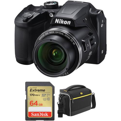 Nikon COOLPIX B500 Digital Camera with Free Accessory Kit (Black)