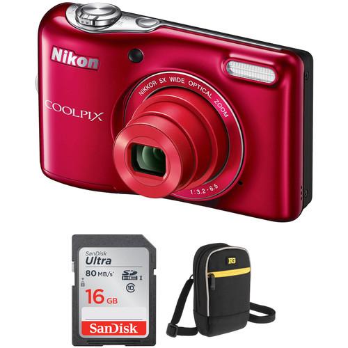 Nikon COOLPIX L32 Digital Camera Basic Kit (Red)
