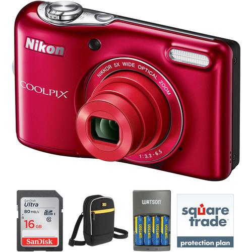 Nikon COOLPIX L32 Digital Camera Deluxe Kit (Red)