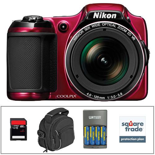 Nikon COOLPIX L820 Digital Camera Deluxe Kit (Red)