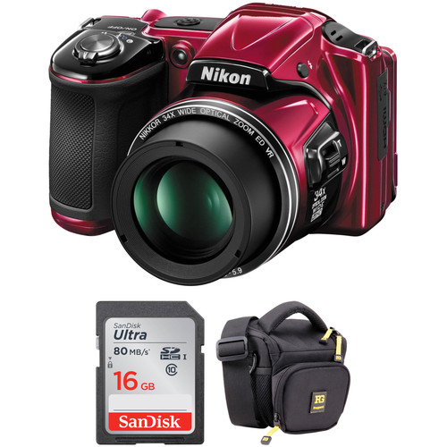 Nikon COOLPIX L830 Digital Camera Basic Kit (Red, Refurbished)