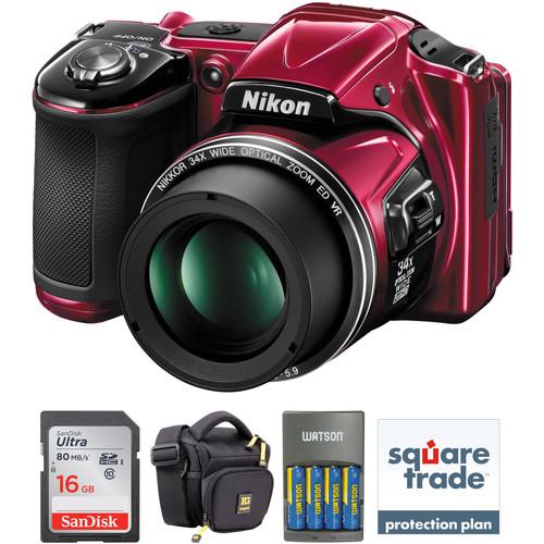 Nikon COOLPIX L830 Digital Camera Deluxe Kit (Red, Refurbished)