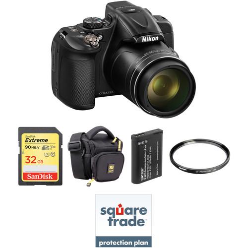 Nikon COOLPIX P600 Digital Camera Deluxe Kit (Black, Refurbished)