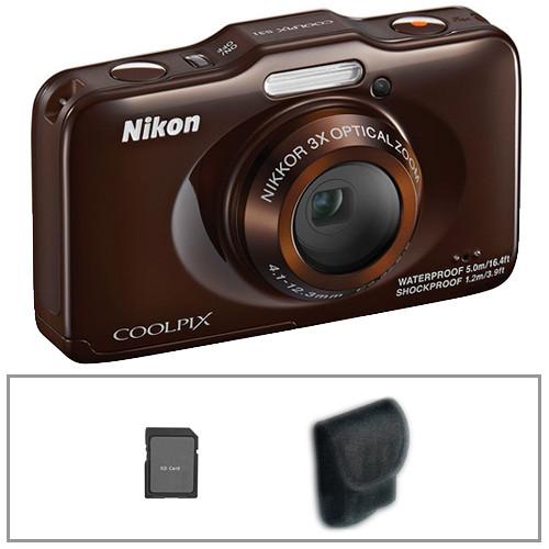 Nikon COOLPIX S31 Digital Camera Basic Kit (Brown)