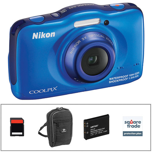 Nikon COOLPIX S32 Digital Camera Deluxe Kit (Blue)