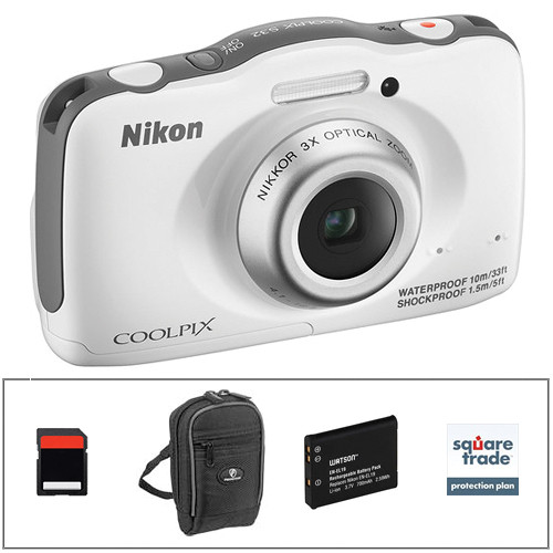 Nikon COOLPIX S32 Digital Camera Deluxe Kit (White)
