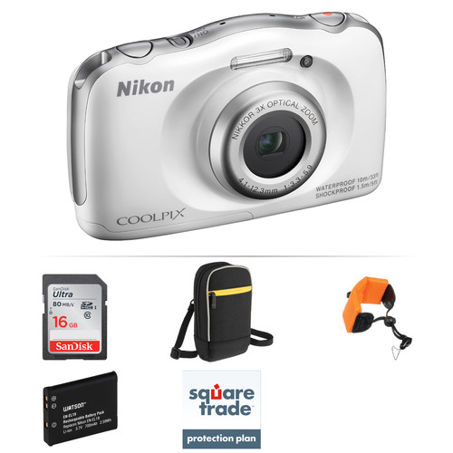 Nikon COOLPIX S33 Digital Camera Deluxe Kit (White)