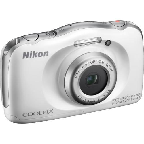 Nikon COOLPIX S33 Digital Camera Deluxe Kit (White, Refurbished)
