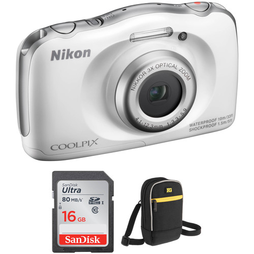 Nikon COOLPIX S33 Digital Camera Basic Kit (White, Refurbished)