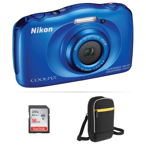 Nikon COOLPIX S33 Digital Camera Basic Kit (Blue, Refurbished)