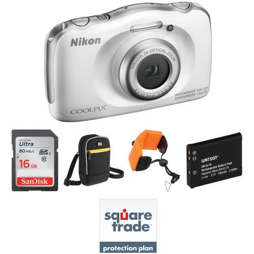 Nikon COOLPIX S33 Digital Camera Deluxe Kit (White)