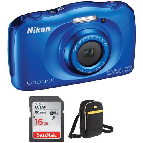 Nikon COOLPIX S33 Digital Camera Basic Kit (Blue)