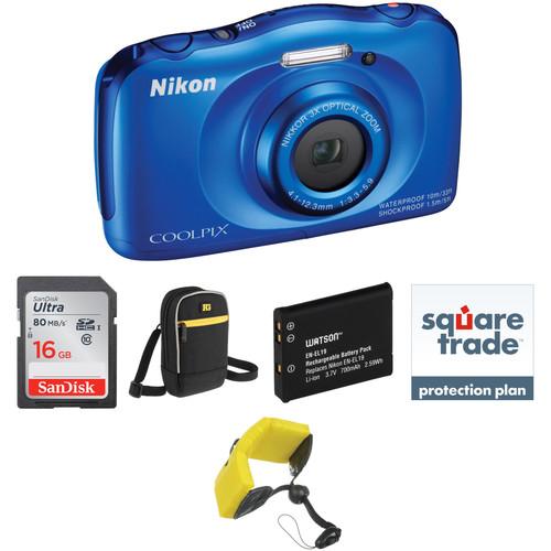 Nikon COOLPIX S33 Digital Camera Deluxe Kit (Blue)