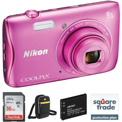 Nikon COOLPIX S3700 Digital Camera Deluxe Kit (Pink)