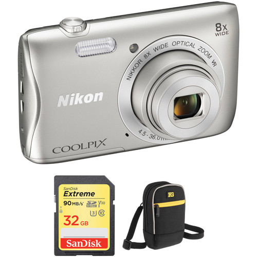 Nikon COOLPIX S3700 Digital Camera Basic Kit (Silver)