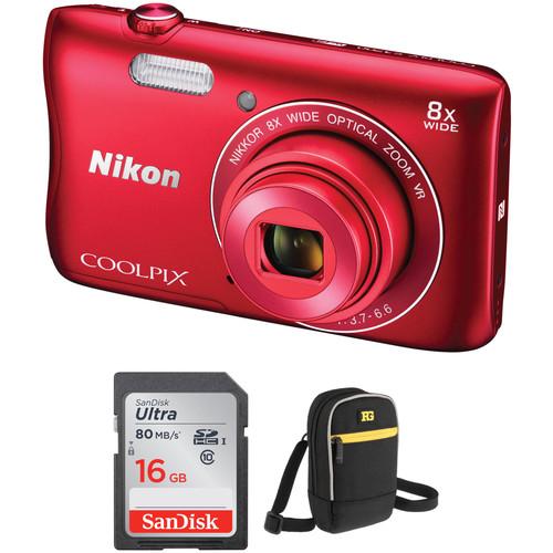 Nikon COOLPIX S3700 Digital Camera Basic Kit (Red)