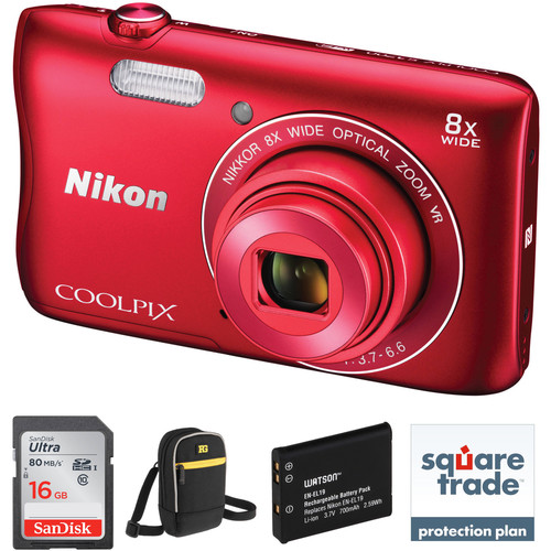 Nikon COOLPIX S3700 Digital Camera Deluxe Kit (Red)