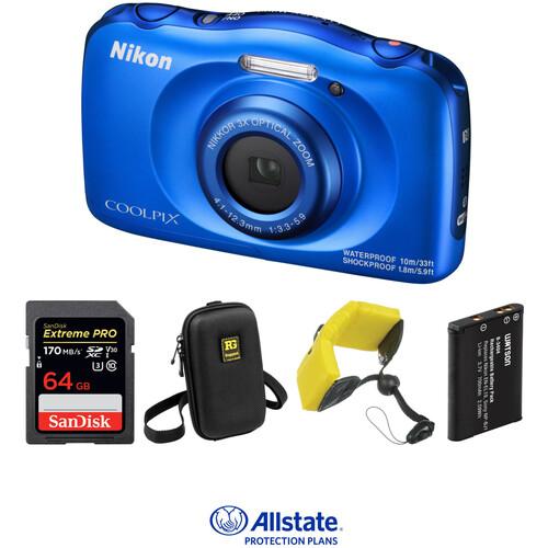 Nikon COOLPIX W100 Digital Camera Deluxe Kit (Blue)