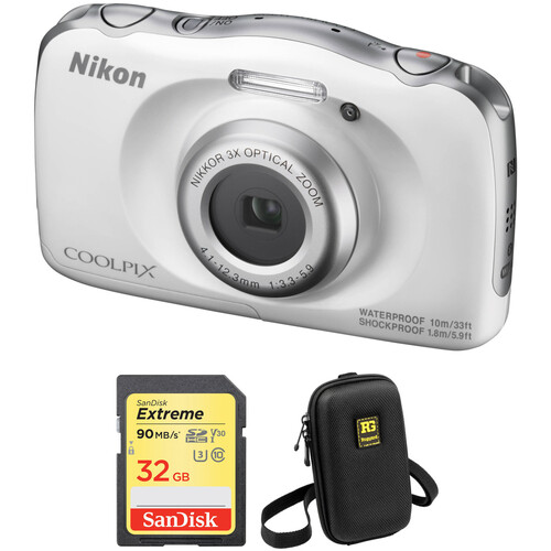 Nikon COOLPIX W100 Digital Camera with Accessory Kit (White)