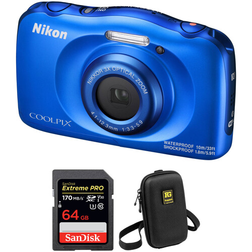 Nikon COOLPIX W100 Digital Camera with Accessory Kit (Blue)
