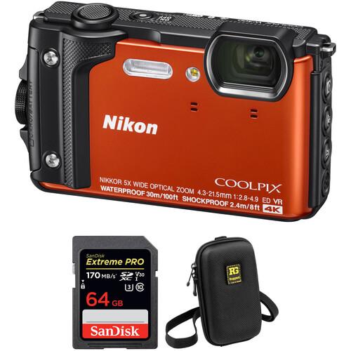 Nikon COOLPIX W300 Digital Camera Basic Kit (Orange)