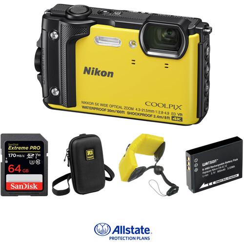 Nikon COOLPIX W300 Digital Camera Deluxe Kit (Yellow)