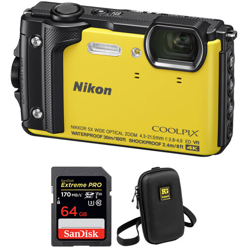 Nikon COOLPIX W300 Digital Camera with Accessory Kit (Yellow)