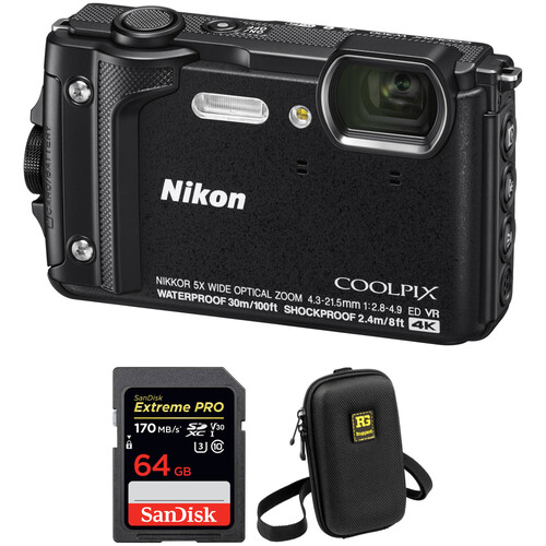 Nikon COOLPIX W300 Digital Camera with Accessory Kit (Black)