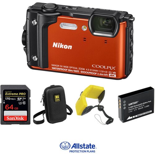 Nikon COOLPIX W300 Digital Camera Deluxe Kit (Orange)