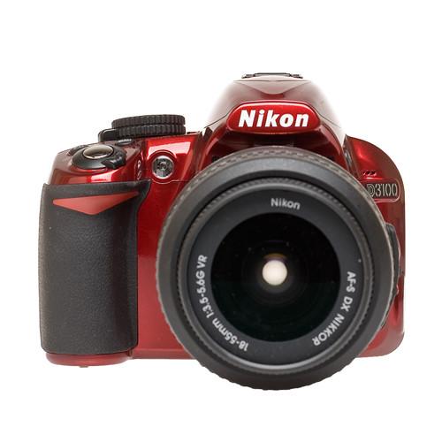 Nikon D3100 SLR Digital Camera Red w/18-55mm VR & 55-200mm VR & Basic Kit