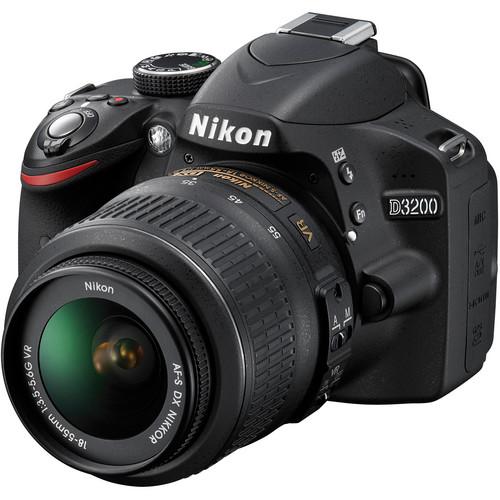 Nikon D3200 Digital SLR Camera w/18-55mm VR Lens (Black) & Deluxe Kit