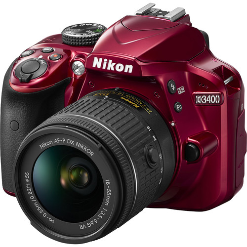 Nikon D3400 DSLR Camera with 18-55mm Lens Deluxe Kit (Red)