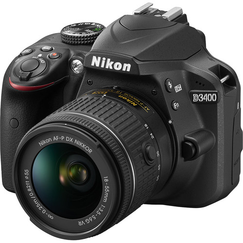 Nikon D3400 DSLR Camera with 18-55mm Lens Deluxe Kit (Black)