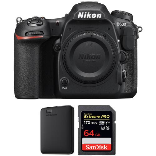 Nikon D500 DSLR Camera Body with Storage Kit