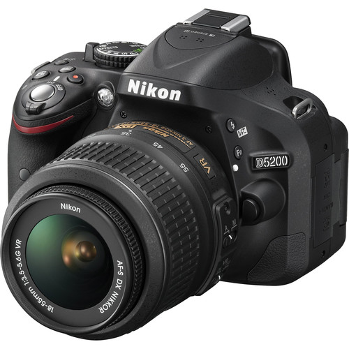 Nikon D5200 Digital SLR Camera w/18-55mm VR Lens (Black) & Basic Accessory Kit