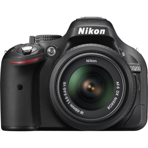 Nikon D5200 Digital SLR Camera w/18-55mm VR Lens (Black) & Deluxe Kit