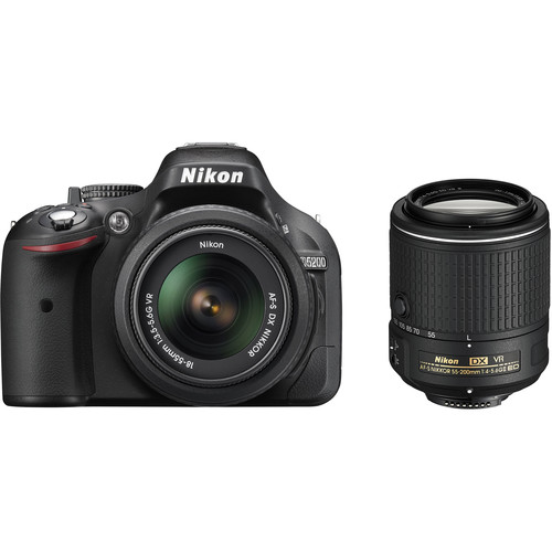 Nikon D5200 DSLR Camera with 18-55mm and 55-200mm Lenses (Black)