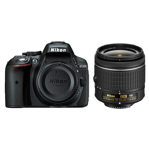 Nikon D5300 DSLR Camera with AF-P 18-55mm Lens (Black, Open Box)