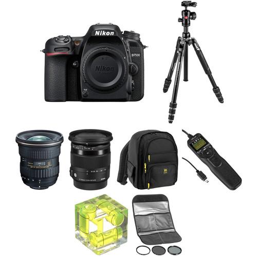 Nikon D7500 DSLR Camera with 11-20mm f/2.8 and 17-70mm f/2.8-4 Lenses Landscape Kit