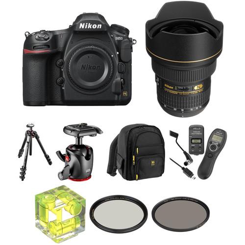 Nikon D850 DSLR Camera with 14-24mm f/2.8 and 24-70mm f/2.8 Lenses Landscape Kit