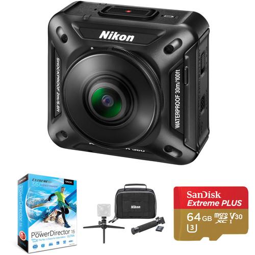 Nikon KeyMission 360 4K Action Camera & PowerDirector 15 Ultra Kit