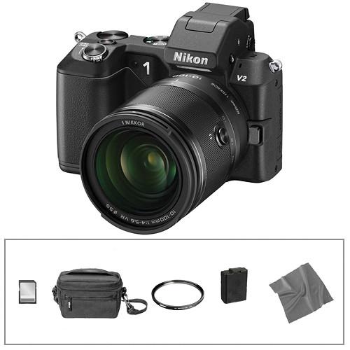 Nikon 1 V2 Mirrorless Digital Camera Basic Accessory Kit with 10-100mm Lens (Black)