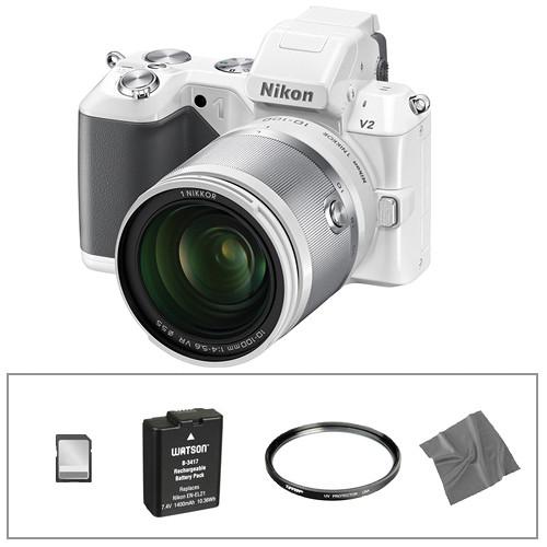 Nikon 1 V2 Mirrorless Digital Camera Basic Accessory Kit with 10-100mm Lens (White)