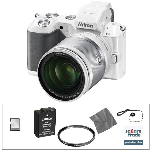 Nikon 1 V2 Mirrorless Digital Camera Deluxe Accessory Kit with 10-100mm Lens (White)